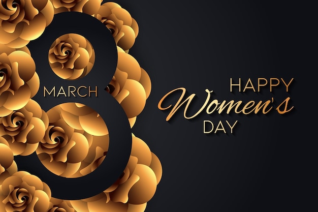Абстрактный женский день с золотыми розами