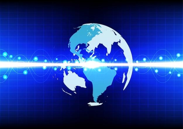青い背景技術における抽象的な世界線の波の効果