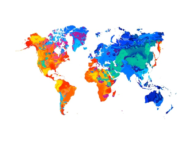 Abstract world map from splash of watercolors.  illustration of paints