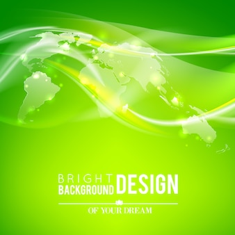 Abstract world map and shine green background.