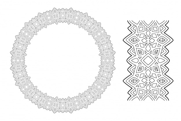 Abstract wreath for coloring book with crystals