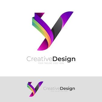 抽象的なyロゴとシンプルなデザインテンプレート