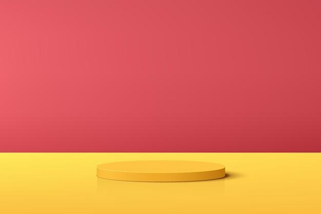 製品展示プレゼンテーションのための赤い最小限のシーンと抽象的な黄色の3dシリンダー台座表彰台