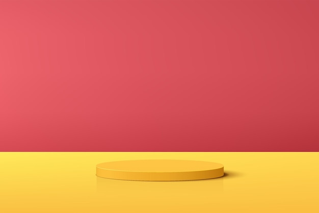 Abstract yellow 3d cylinder pedestal podium with red minimal scene for product display presentation