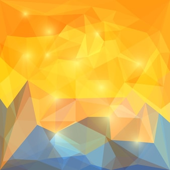 카드, 초대장, 포스터, 배너, 현수막 또는 빌보드 표지 디자인에 사용하기 위한 눈부신 조명이 있는 추상 노란색 및 파란색 다각형 벡터 삼각형 기하학적 배경