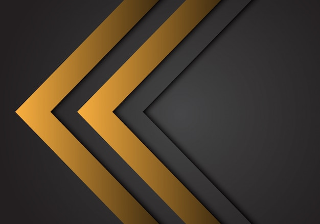 Abstract yellow arrow steel direction on dark grey futuristic background.