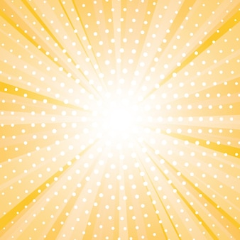 Abstract yellow background with sun ray and dots.