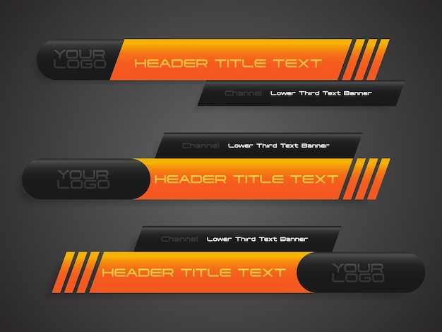 Abstract yellow black broadcast news lower thirds template vector illustration for media video