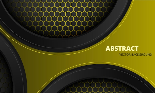 Abstract yellow and black sports background with hexagon carbon fiber