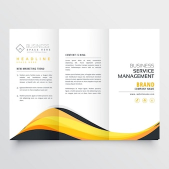 Abstract yellow and black wave trifold brochure