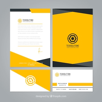 Abstract yellow business stationery Premium Vector