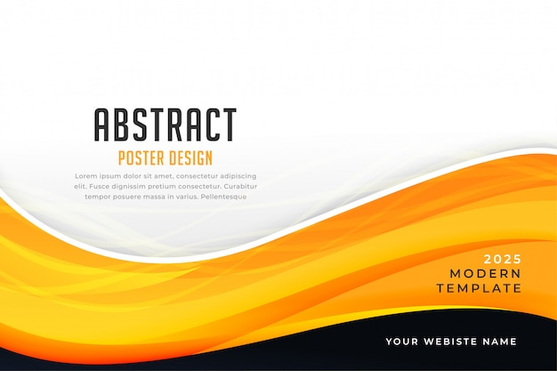 Abstract yellow color business style wave presentation template