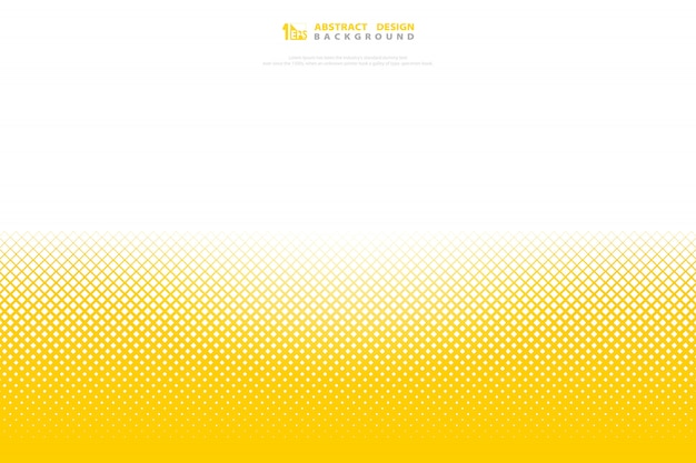 Abstract yellow color halftone minimal geometric pattern square decoration.