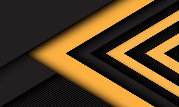 抽象的な黄色の濃い灰色の矢印の方向は、線のテクスチャスタイルの未来的な技術の背景に重なっています