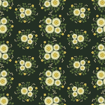 Abstract yellow flowers wreath ivy style with branch and leaves, seamless pattern