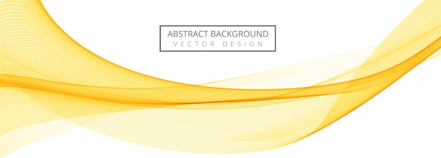 Abstract yellow flowing wave banner background
