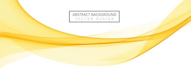 抽象的な黄色の流れる波バナーの背景