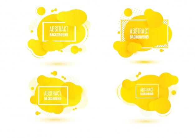 Абстрактный желтый набор жидкой формы