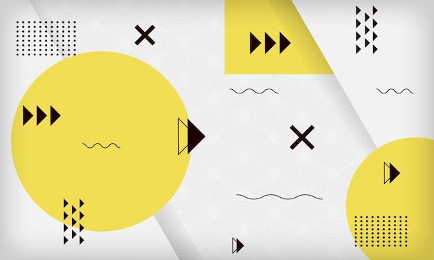 抽象的な黄色の幾何学的なメンフィスの背景モダンな最小限の流行のデザインテンプレート