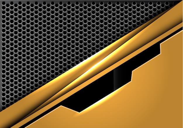 六角形のメッシュの背景に抽象的な黄金の黒いプレート。
