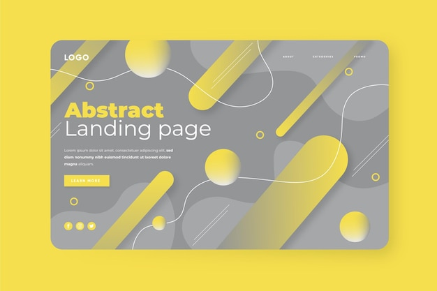 Abstract yellow and gray landing page template