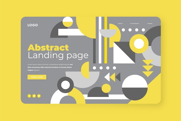 Abstract yellow and gray landing page