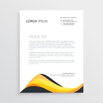 추상 노란색 레터 헤드 디자인 서식 파일