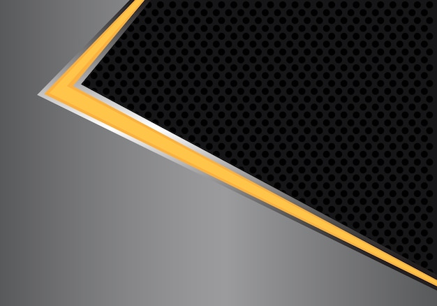 Abstract yellow light arrow direction gray metal circle mesh.