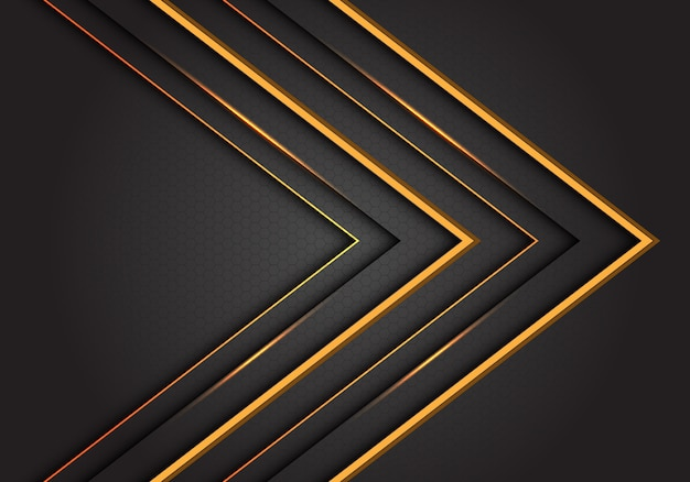 Abstract yellow line arrow direction on grey luxury futuristic background.