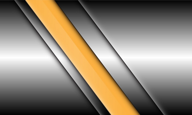 Abstract yellow line slash on silver design modern luxury futuristic background.