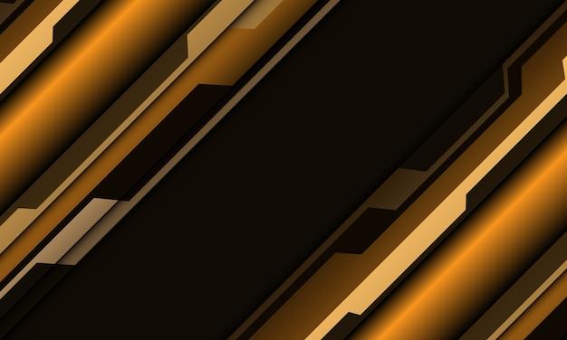 Абстрактная желтая металлическая косая черта кибер-многоугольника на темно-сером фоне футуристической технологии дизайна.