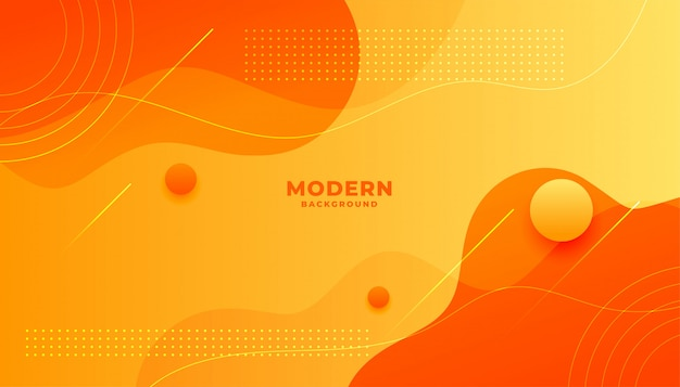 Abstract yellow and orange fluid shape modern background