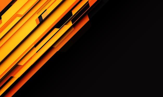 空白のスペースで黒に抽象的な黄色オレンジ色の幾何学的なサイバー回路スラッシュ現代の未来的な技術の背景