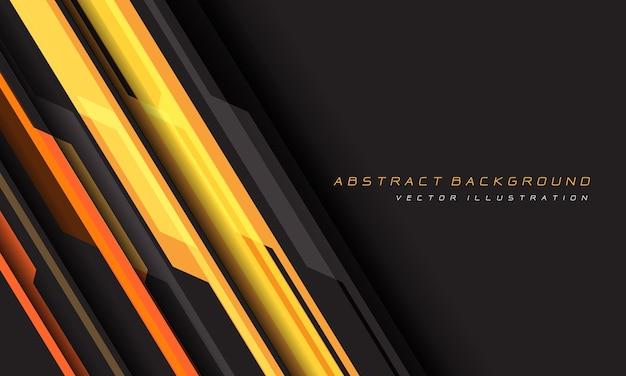空白スペースの未来的な背景を持つ抽象的な黄色オレンジグレーサイバー幾何学的な線。