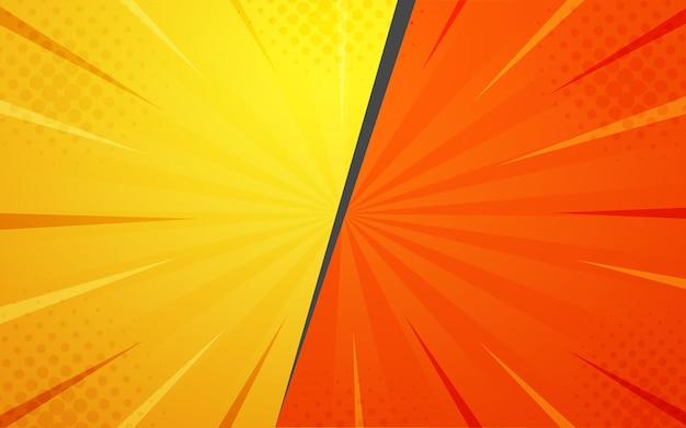 抽象的な黄色オレンジ色のハーフトーンコミック漫画ズームの背景