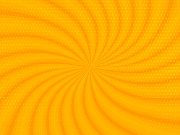 Abstract yellow rays background with halftone design