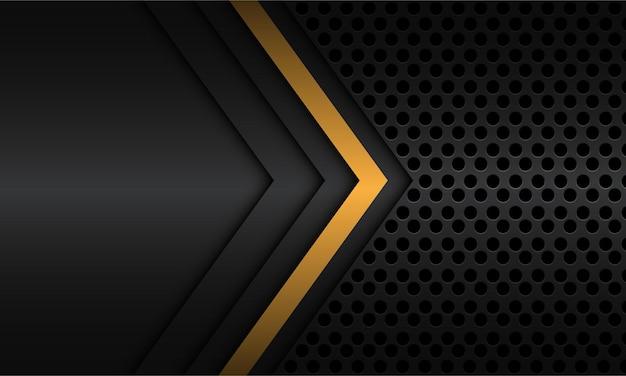 어두운 회색 금속 원 메쉬 현대적인 고급 미래 기술 배경에 빈 공간이 있는 추상 노란색 그림자 선 화살표 방향
