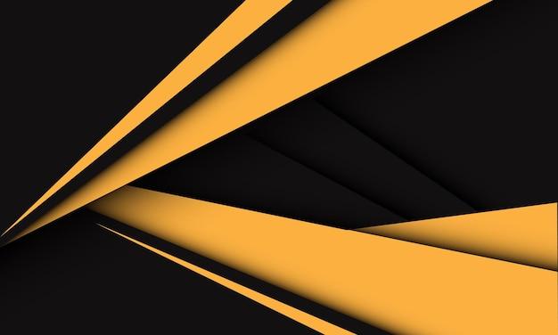 暗い灰色の現代の未来的な創造的な背景の抽象的な黄色の三角形の矢印の速度方向