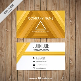 Abstract yellow triangles business card