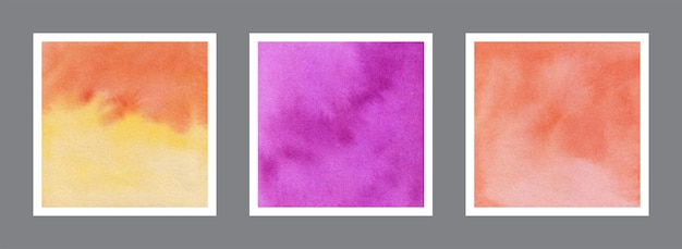 Abstract yellow, violet and orange watercolor background collection