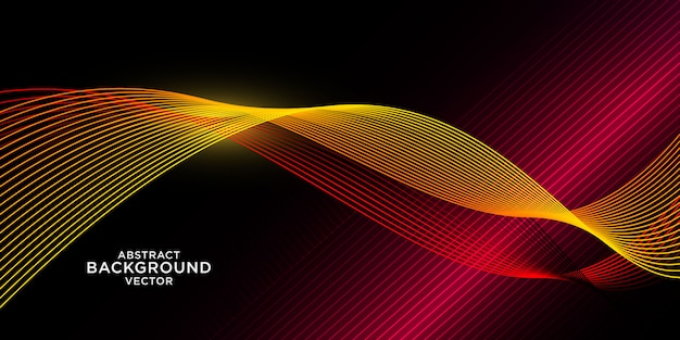 Abstract yellow wave background with red light