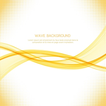 Abstract yellow wave elegant background with halftone