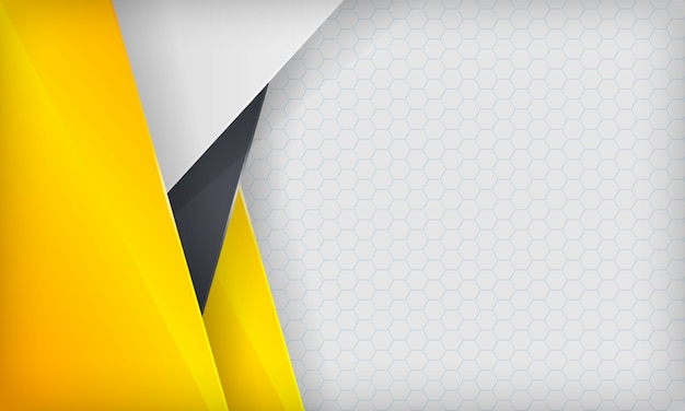 Abstract yellow, white and black overlap background. modern  template.