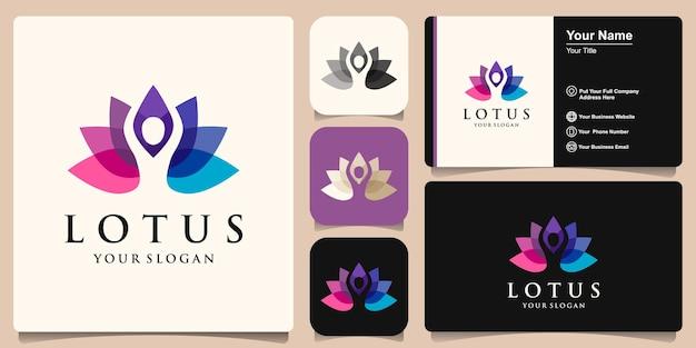 Abstract yoga human combined lotus logo. thread person flower balance logotype. creative spa, guru vector mark.