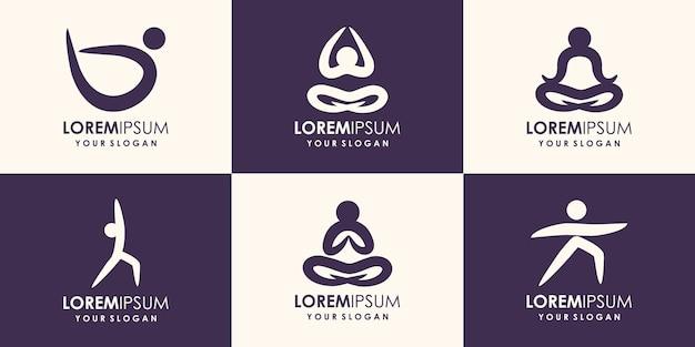 抽象的なヨガのロゴデザイン。ジム、フィットネス、ランニングトレーナーのベクトルのロゴ。アクティブなフィットネス、スポーツ、ダンスウェブのアイコンとシンボル