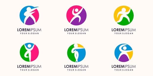 抽象的なヨガの人々のロゴデザイン。ジム、フィットネス、ランニングトレーナーのベクトルのロゴ。アクティブなフィットネス、スポーツ、ダンスウェブのアイコンとシンボル