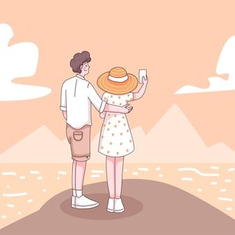 漫画のキャラクター、フラットなイラストでビーチで一緒に抽象的な若いカップルの自撮り