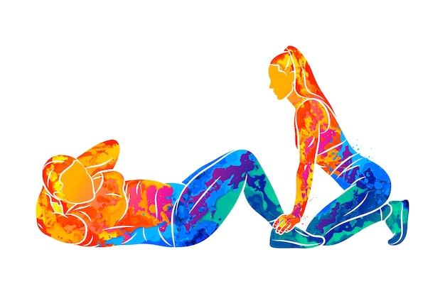 抽象的な若いプラスサイズの女性は、水彩画のしぶきからトレーナーとプレス運動を行います。塗料のイラスト。腹筋を改善します。フィットネス、減量