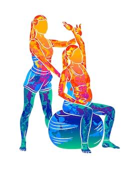 抽象的な若い妊娠中の女性は水彩画のスプラッシュからコーチとフィットネスボールとピラティス運動を行います。座ってリラックス。アクティブな将来の母親のスポーツライフスタイル。健康な妊娠の概念