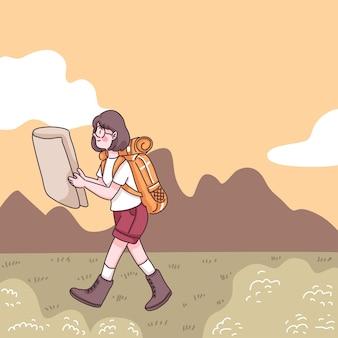 漫画のキャラクター、フラットなイラストでキャンプ中に森の牧草地を歩くバックパックと地図を持つ抽象的な若い女性